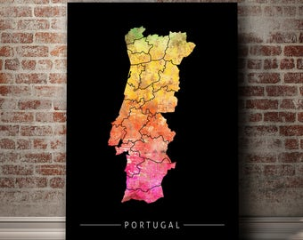 Portugal Map Etsy - Portugal map to print