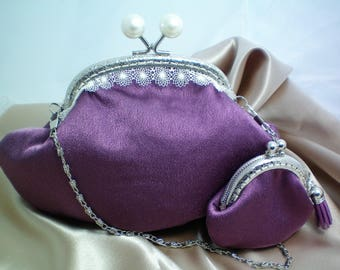 Vintage Style Lilac and Lace Clutch Purse Set