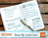 Banners Flags, and Task Bullets Stencil - FIELD NOTES size - Bullet Journal Stencil