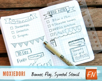 Banners and Task Bullets Stencil, Bullet Journal Stencil, Field Notes 8.5 cm by 14 cm