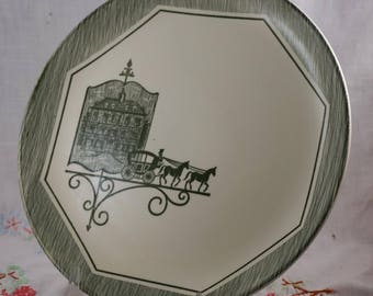 Olde Orleans by Scio Pottery Mid Century MCM Green Transferware Horse and Carriage Dinner Plate