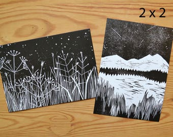 "Postcard set of 4 ""stars"""