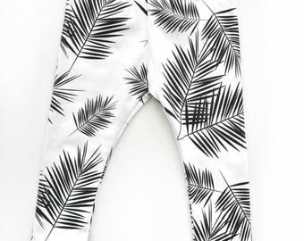 Toddler/infant organic cotton leggings, palm leaf