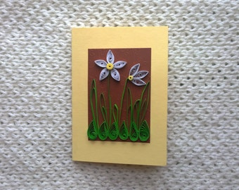 Quilling card with snowdrop flowers/Greeting quilled card/Spring quilling card/Handmade quilling card