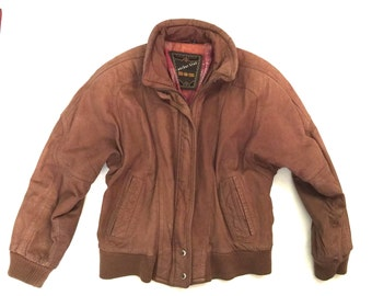 Vintage Anchor Blue Brown Bomber Leather Jacket Size M Coat 90s