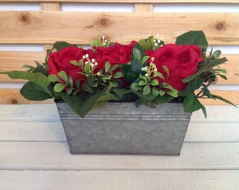 Red Rose Floral, Red Rose Arrangement, Red Rose Centerpiece, Rustic Floral Arrangement, Tin Container Arrangement
