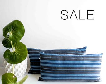 "Sale! Grey & Blue Stripped Pillow Cover | 12"" x 24"""