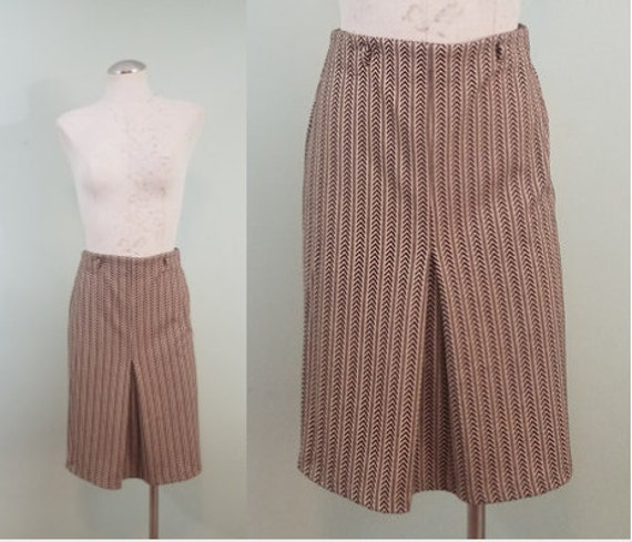 Vintage Brown and Tan Wiggle Skirt / Retro, High Waisted Pin Up Midi / Chevron Print / Modern Size Extra Small