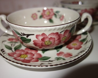 "Set of 4 ""Irish Rose"" soup bowls and saucers by Wood & Sons"