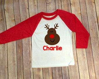 Rudolph, Rudolph Shirt, Christmas Raglans, Girls Christmas Shirt, Boys Christmas Shirt, Reindeer, Christmas Outfit, Matching Christmas