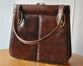 Vintage cute dark brown snake skin evening bag purse handbag