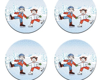 A pack of 4 Girl & Boy Ice Skating Pattern weights Ideal for weighing down patterns on delicate fabrics no need for pins like TV sewing Bee