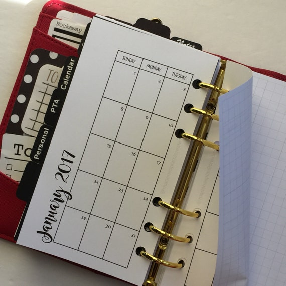 Monthly On 2 Pages With Grid Printed Planner Inserts - Personal Size - Grid Between Months