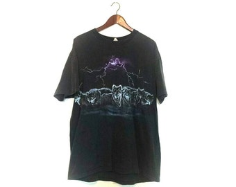 Vintage 1990s distressed thrashed lightening bolt  wolfpack wolf tshirt