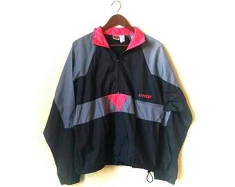 Rad 1990s neon pink and gray colorblock Nike windbreaker jacket