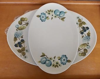 Vintage Iroquois Blue Floral and Berry Informal True China by Ben Seibel, Large and Small Platters, Mid-Century