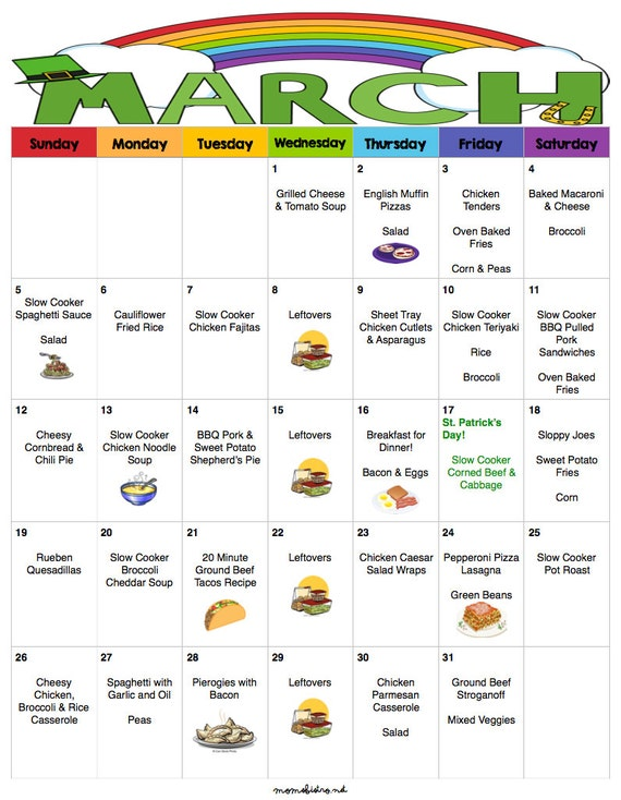 March 2017 Budget Menu Plan | Weekly Grocery List & Recipes | Budget Menu Plan | Monthly Menu | Meal Plan