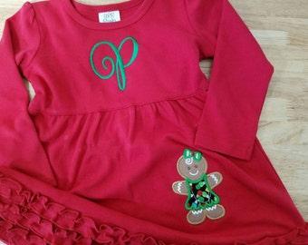 Gingerbread Applique Dress, Christmas Dress, girls holiday dress, gingerbread girls, personalized dress, girls holiday, toddler holiday