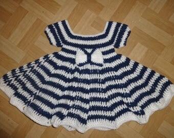 navy stripy baby girls crochet dress 6-12 months
