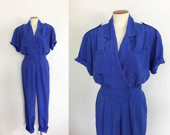 1980s vintage royal blue jumpsuit / 80s jumpsuit power suit romper / 1940s style / small S medium M