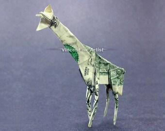 GIRAFFE Money Origami Art Dollar Bill Animal Cash Sculptors Bank Note Handmade Dinero