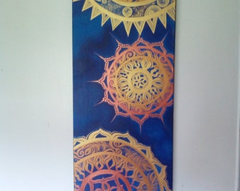 Indigo and copper gold Original Mandala Abstract painting