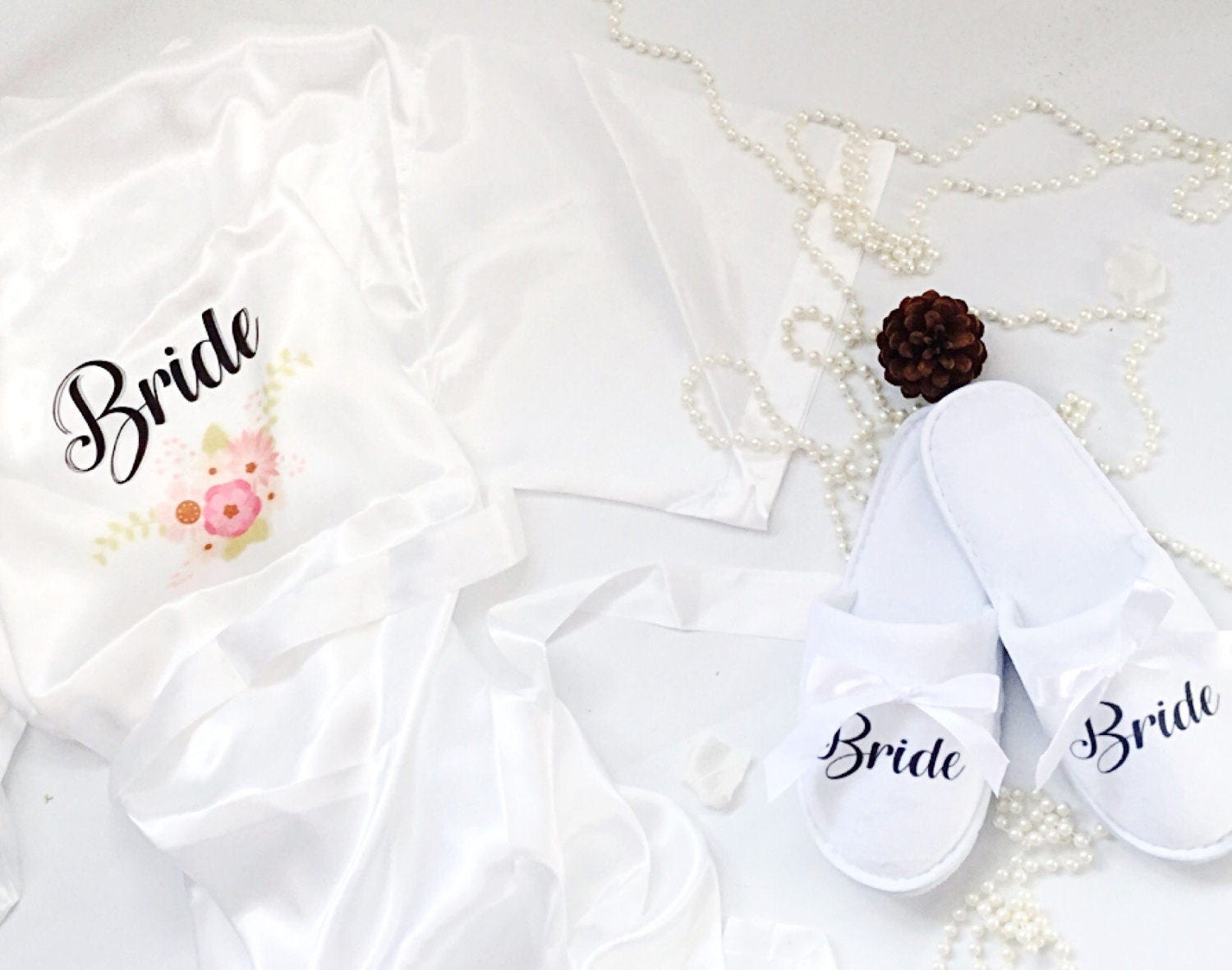 Brides\' dressing gown WITH bridal slippers GIFT SET , Personalised ...