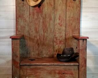 Furniture, Hall Tree, Coat Rack, Rustic Hall Tree, Entry Hall Tree, Reclaimed Oak Hall Tree, Farmhouse Hall Tree,  Handmade Hall Tree