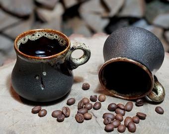 Gift sister Clay small mug Set of 2 Ceramic coffee mug Black coffee cup set Fathers day gift for men Espresso cup set Stoneware mug Pottery