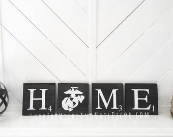 Home Decor, Military Sign, USMC Decor, Marine Corps Decor, Scrabble Tiles, Rustic Home Decor, Family Sign, Wood Sign