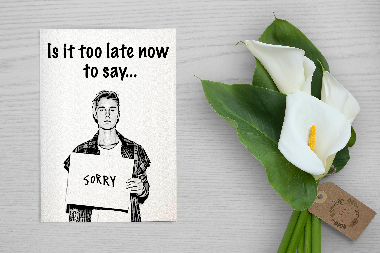 Justin bieber scrapbook ideas - I M Sorry Card Justin Bieber Sorry Printable Card Instant Download