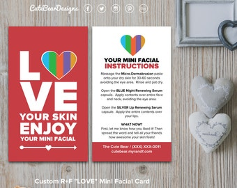 Rodan and Fields Mini Facial Cards / Custom / Big Heart / LOVE / Love Your Skin / Solid Colors / Instructions / Digital / DIY / Printable