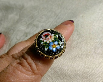 Vintage Micro Mosaic 10KT GP Ring Floral Design Size 5