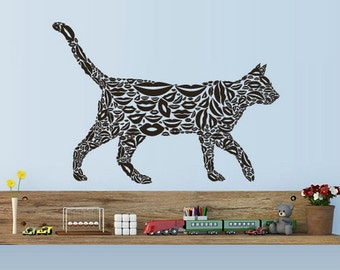 rvz3096 Wall Decals Vinyl Decal Sticker Animal Cat Consist From Lips