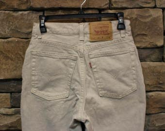 Vintage Levi's 512 Jeans  High Waisted Denim  Size 9  (Modern Day Size 5/6 or 7/8)  Slim Fit  Tan  Beige  Made in USA