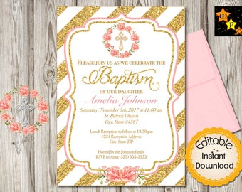 "Baptism Invitation, Girl, Gold Diagonal Lines, Watercolor Flowers, INSTANT download, EDITABLE in Adobe Reader, DIY, Printable, 5""x7"" each"