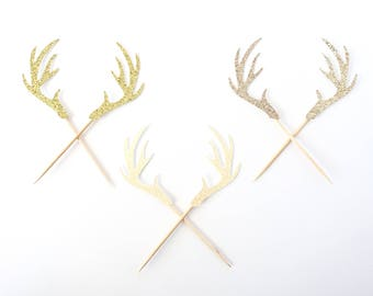 Deer Antler Cupcake Toppers - Set of 12
