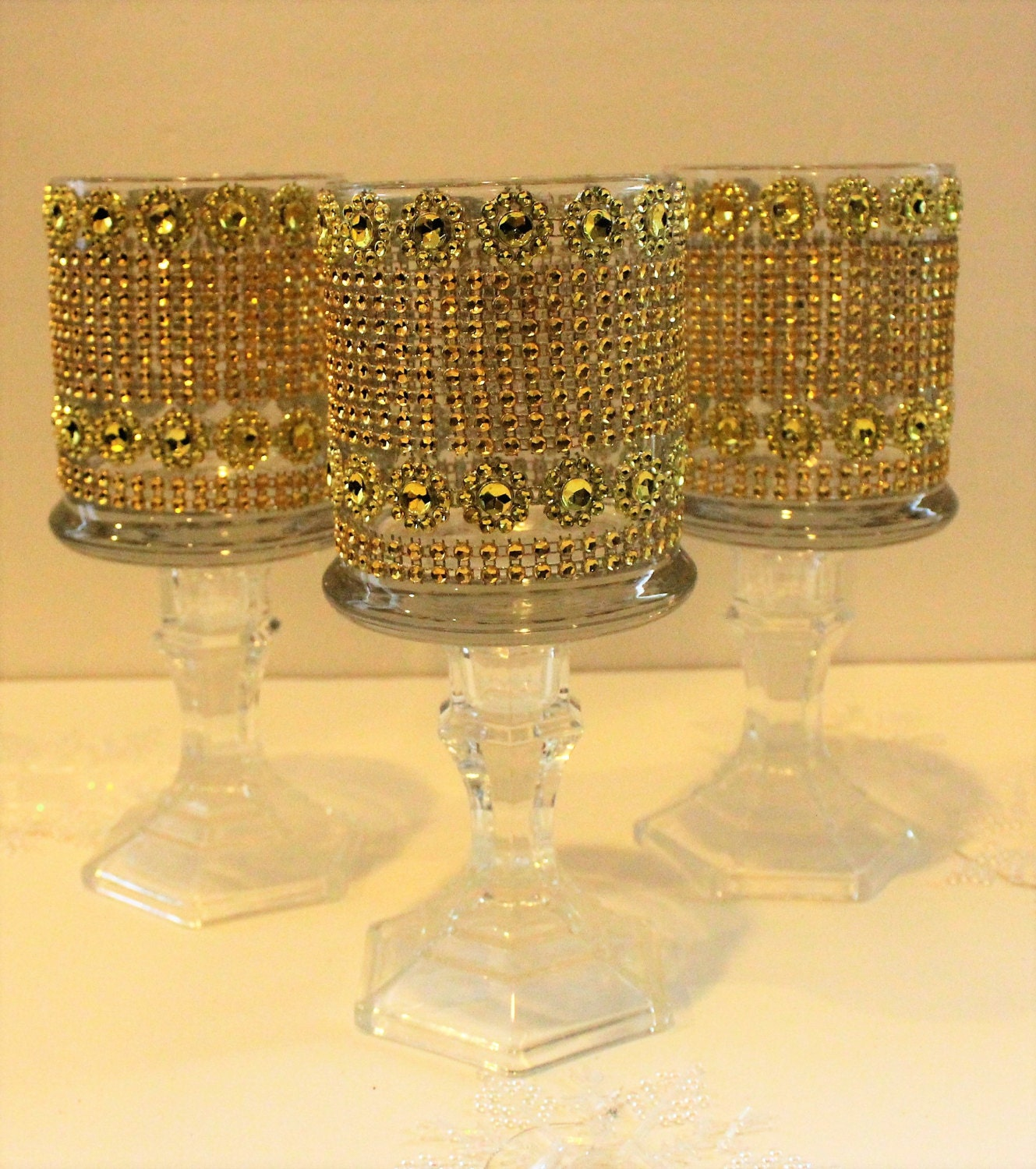 Set of 10 tall glass candle holder wedding centerpiece Bling