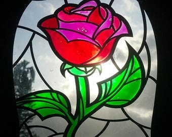 Disney Inspired Beauty & The Beast Rose Imitation Stained Glass Window or Wall Art