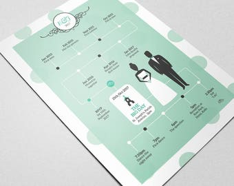 Infographic Wedding Invitation: Personalised Stationery - Illustration Wedding Invite. Your Special Day