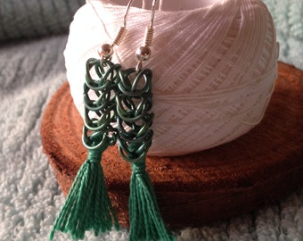 Green Titanium Chainmaile Earrings