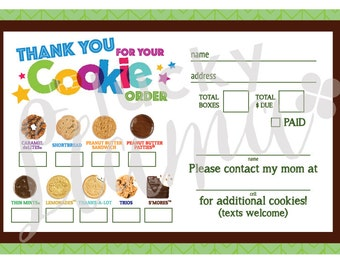 2017 girl scout cookie thank you order form receipt