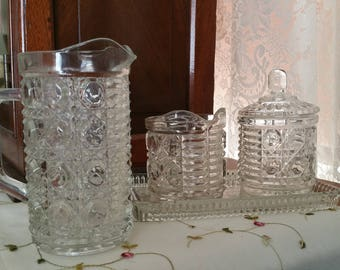 Vintage Windsor Clear Glass Sugar Bowl and Creamer, Windsor Lidded Sugar Bowl,Creamer,Tray, and Pitcher. Sold as Set Only