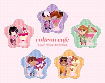 """VOLTRON CAFE - 2.25"""" star buttons"""