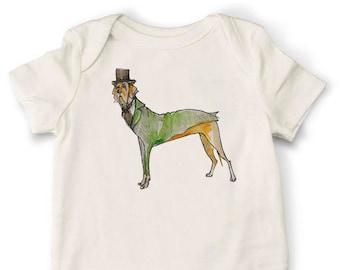 Great Dane Onesie, Dog Onesie, Organic Cotton Baby Onesie, Handmade Onesie, Baby Onesie