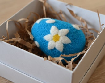 Easter Decoration - Needle Felted Blue Easter Egg with White Flowers