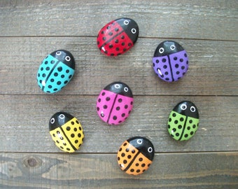 Ladybug Painted Garden Stones, Garden Decor, Garden Art, Garden Rocks, Painted Rocks, Ladybug Plant Decor, Ladybug Party Favors