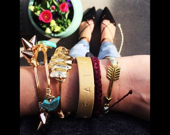 Custom Hand-Stamped Leather Cuff Bracelets