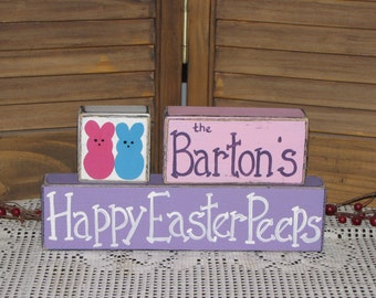 Happy Easter Peeps wooden block set sign personalized Easter gift hand painted stacking blocks Easter shelf sitter Hand painted Easter decor