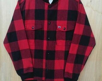 30% SALE Vintage Woolrich Red Black Jacket Sz Medium